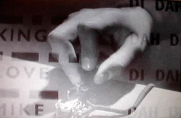Film still, Quonset Hut projection
