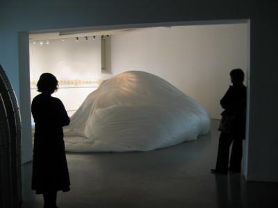 Installation view White nylon, vinyl, fans motion sensor 24 foot diameter